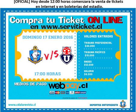 [OFICIAL] Humo Blanco, comienza venta de entradas Antofagasta vs U de Chile