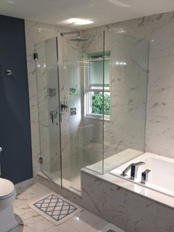 Custom Glass Shower with Hinged Door