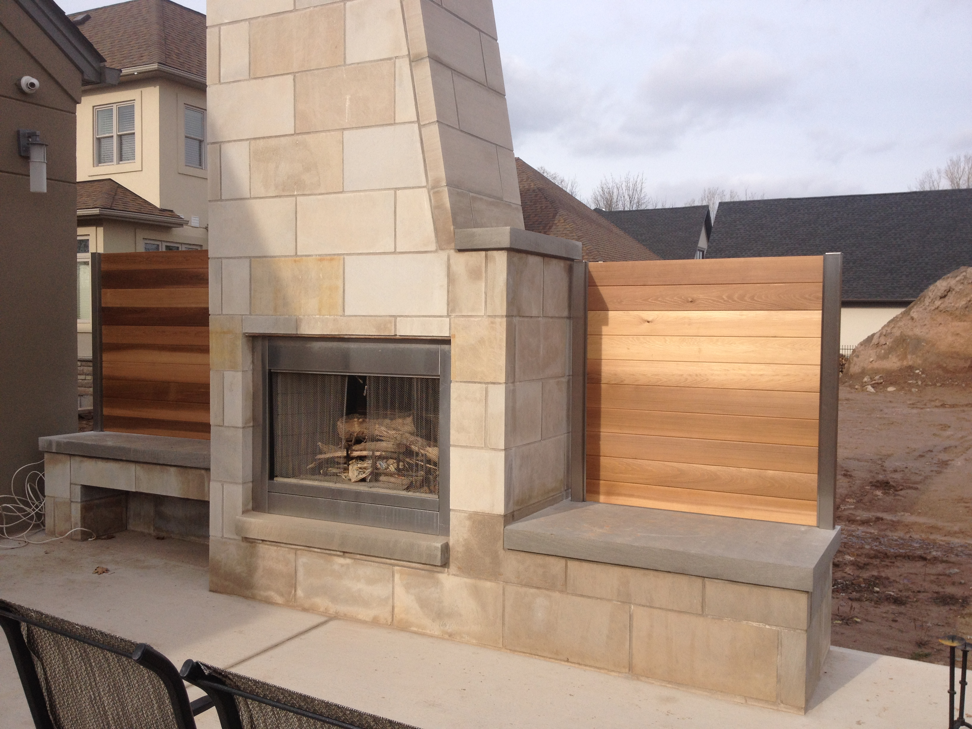 Fireplace Border & Cedar Board Wall