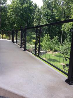 Glass and Iron Decorative Railing