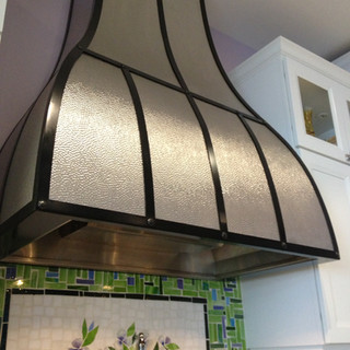Stainless and Black Strips Custom Hood Fan