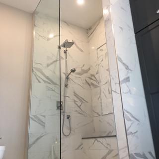 Custom Floor to Ceiling Glass Shower Pan