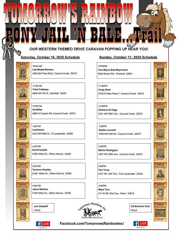 Pony Jail 'n Bale 2020 Location Schedule