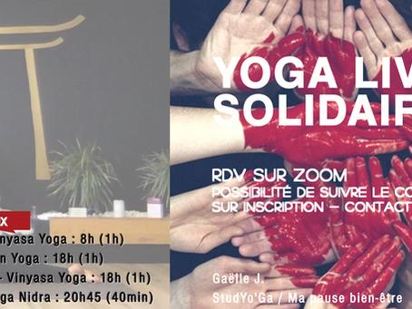 Nouveaux créneaux - Yoga Live Solidaire @home sur Zoom