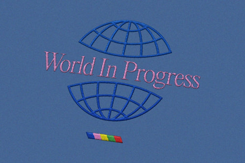 World In Progress Embroidered Tee - Blue Jean