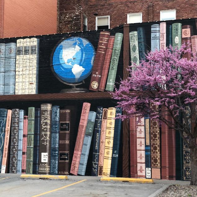 bookshelf mural