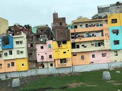colorful buildings in New Delhi