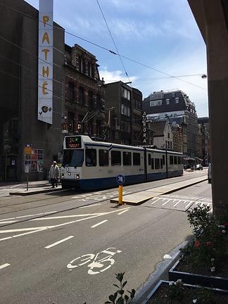 tram, bus lae, and bike lane in Amsterdam, Netherlands