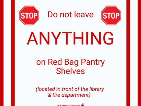 No Donations on the Red Bag Pantry Shelves, Please!