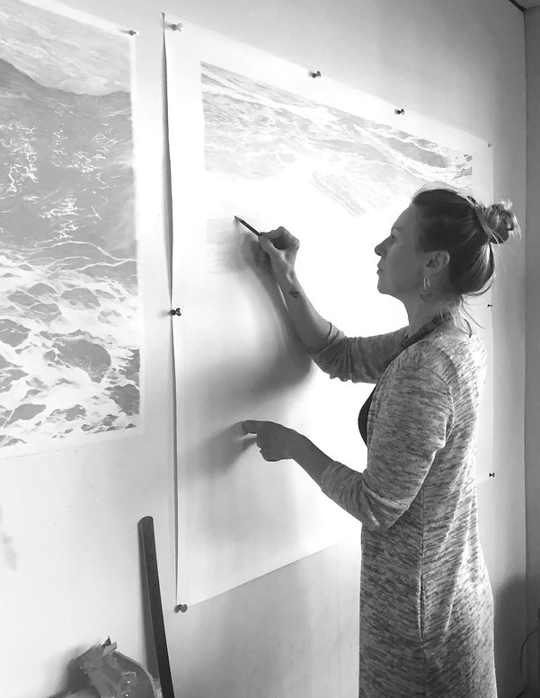 Karyn drawing a seascape