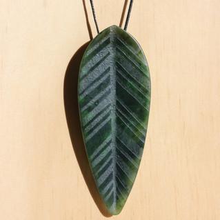 Leaf Pendant, Yukon Jade