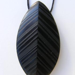 Leaf Pendant, Aust Black Jade