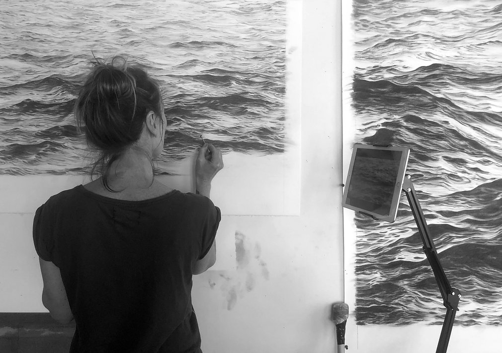 Me drawing charcoal Seascapes