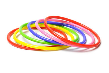 Multicolor plastic bangles isolated on w