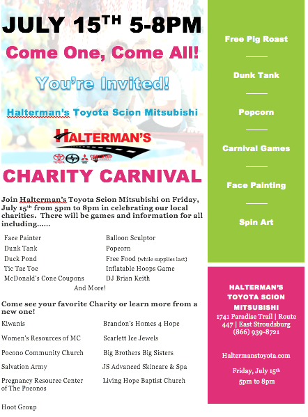 We are so excited about this exciting event coming up!!!! Halterman's is having their Annual Charity Carnival Event again on Jul 15th 2016 from 5-8pm!!! There will be all kinds of Games, Fun, Charities, Face Painting, Dunk Tank and More! We hope to see you there!!!