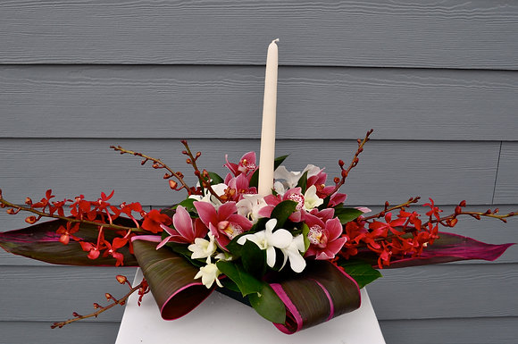 Tropical Orchid Candle Centerpiece