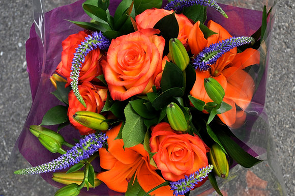 Bright Orange & Purple Bouquet