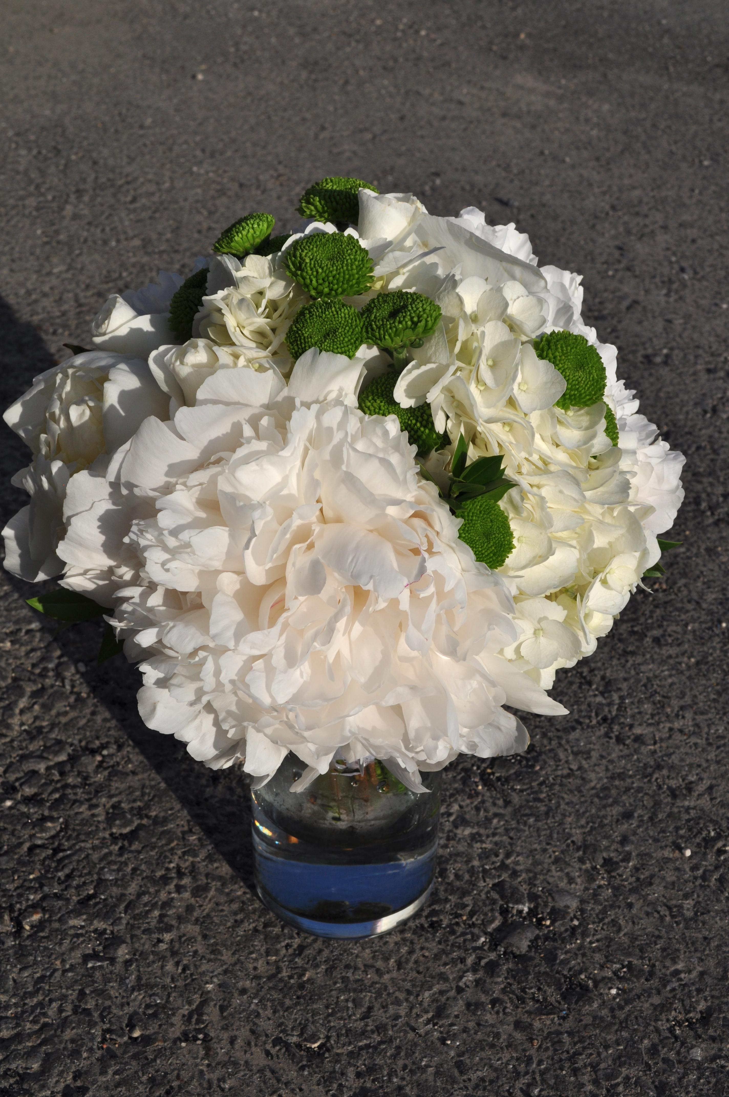 White & Green Hydrangea Bouquet