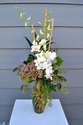 White Dendrobium Orchid Vase Arrangement