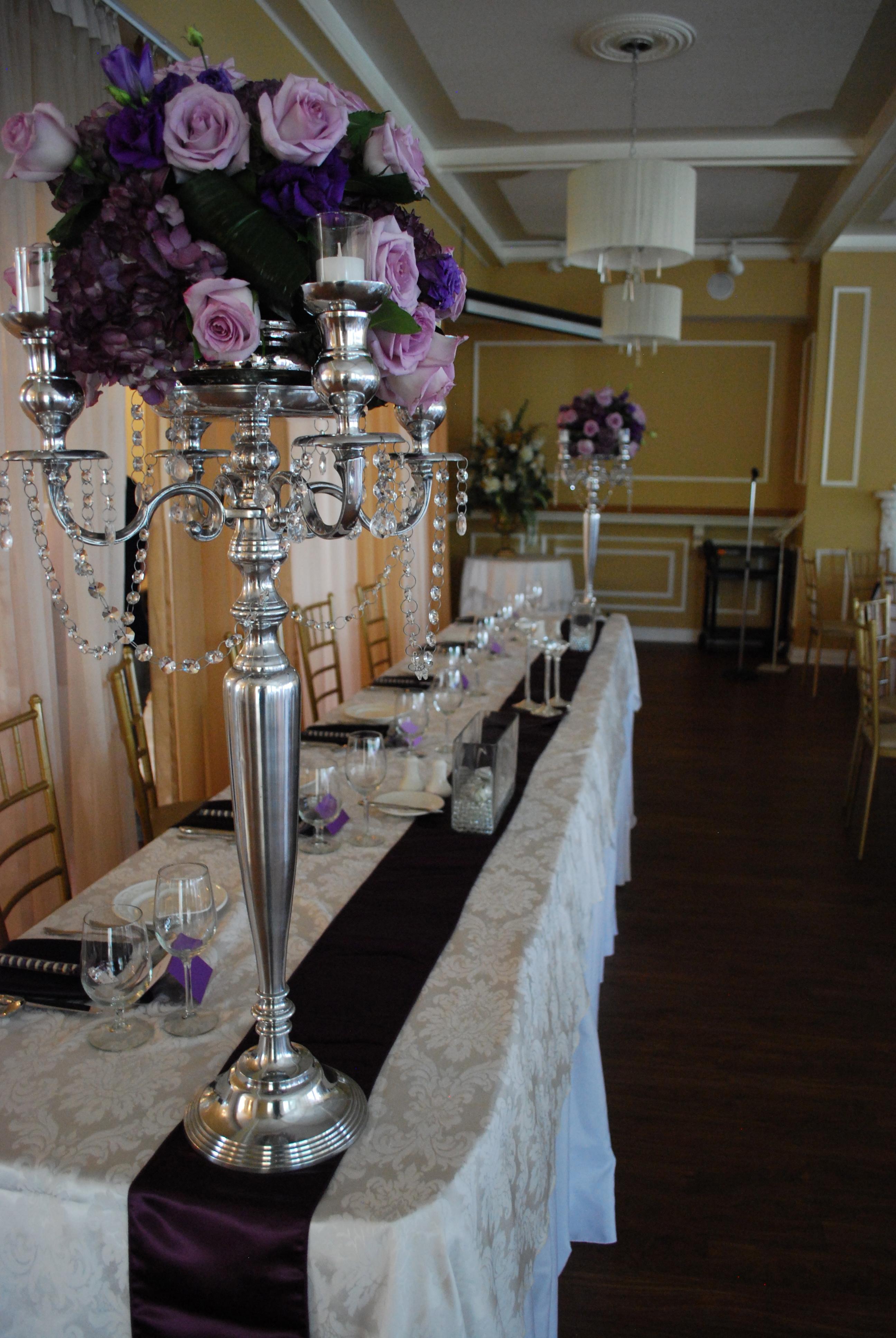 Purple Candelabra Centerpiece