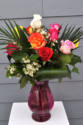 Dozen Mixed Rose Arrangement