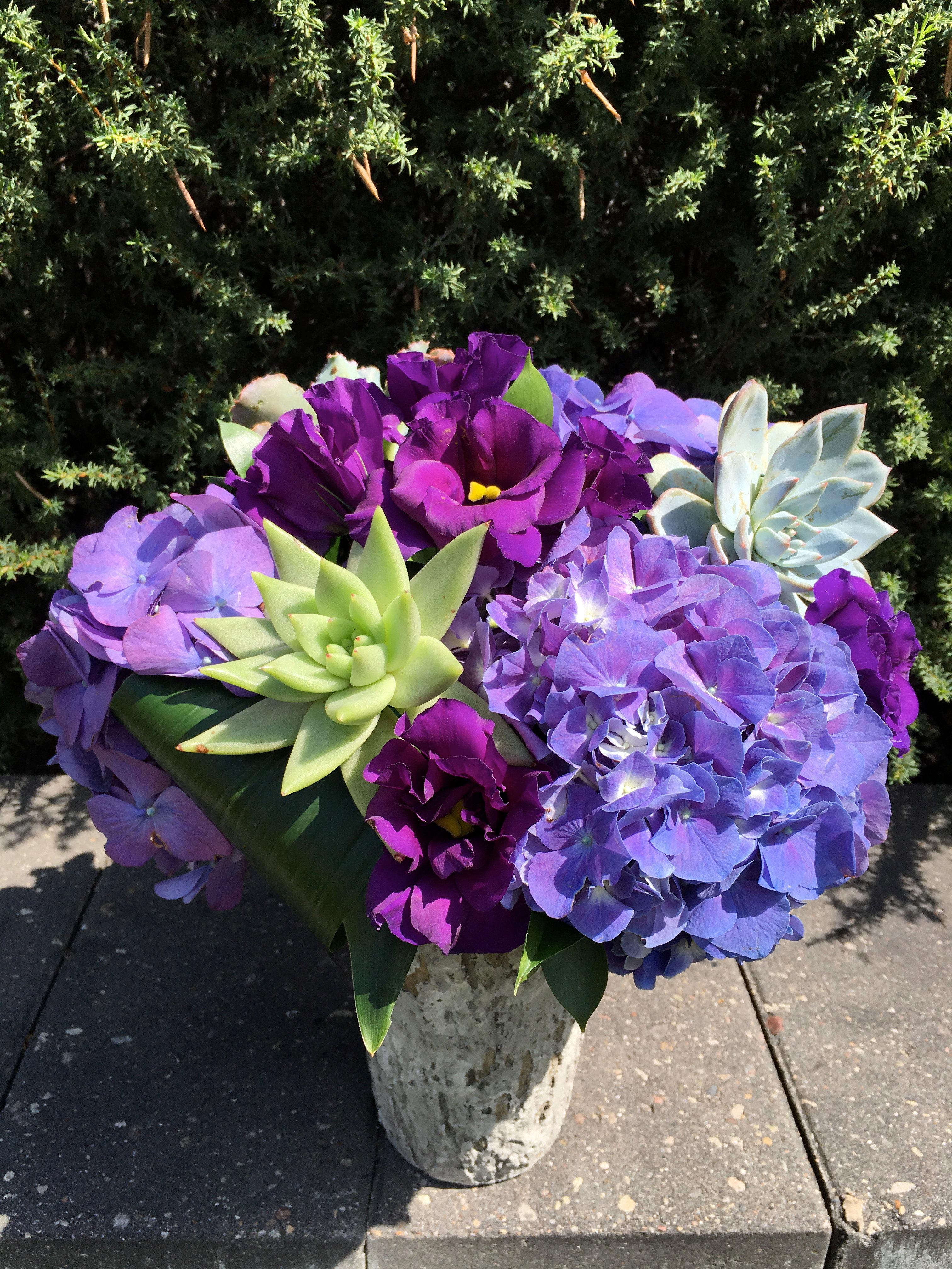 Purple Succulent Arrangement Ce Flowers