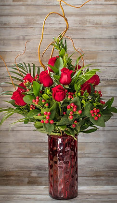 Dozen Red Rose Arrangement Deluxe