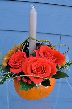 Orange Rose Pumpkin Arrangement with Candle