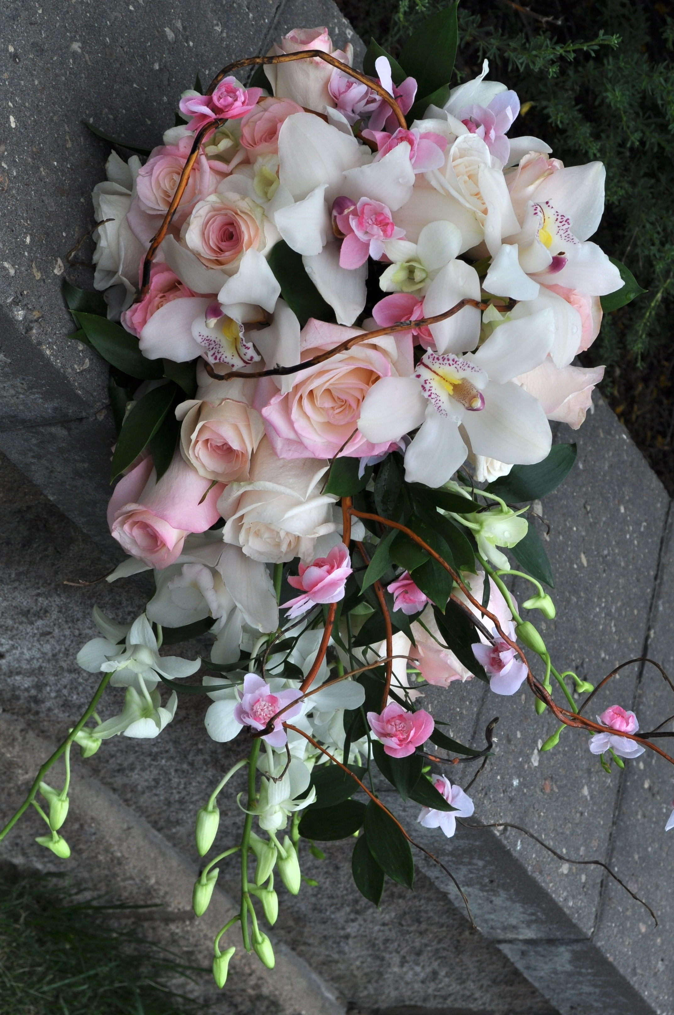 Pink & White Cascade Bouquet