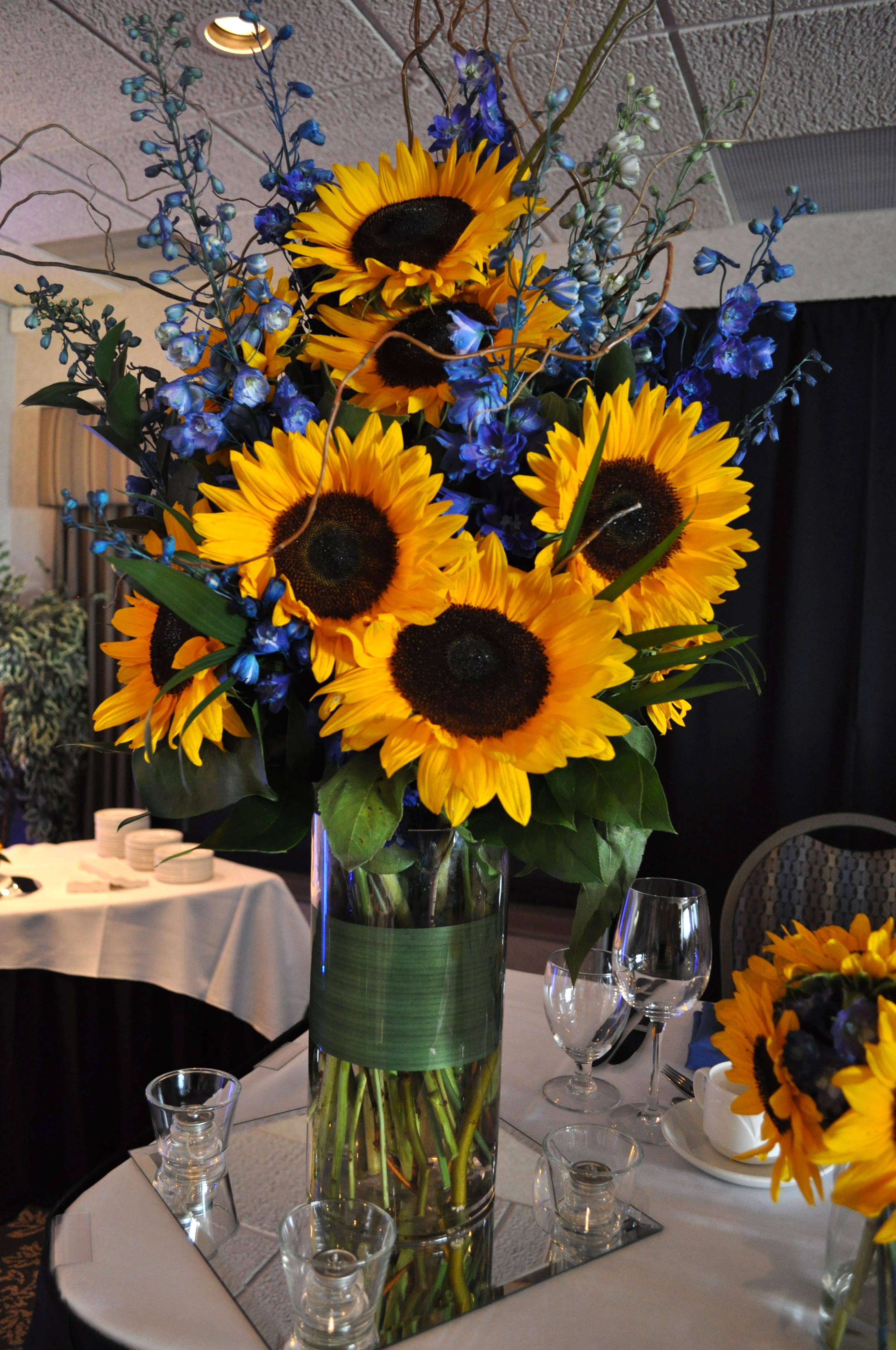 Sunflower Head Table Arrangement