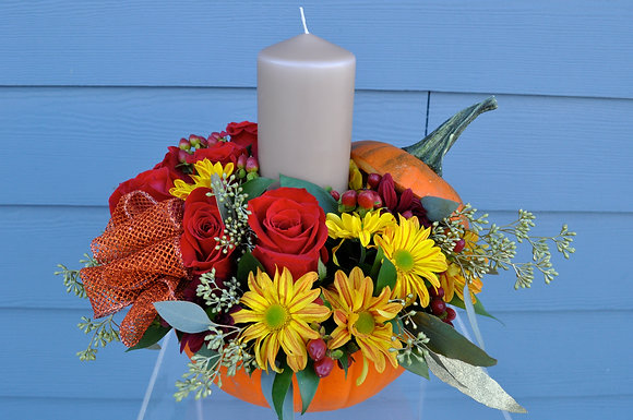Red, Orange, & Yellow Pumpkin Arrangement