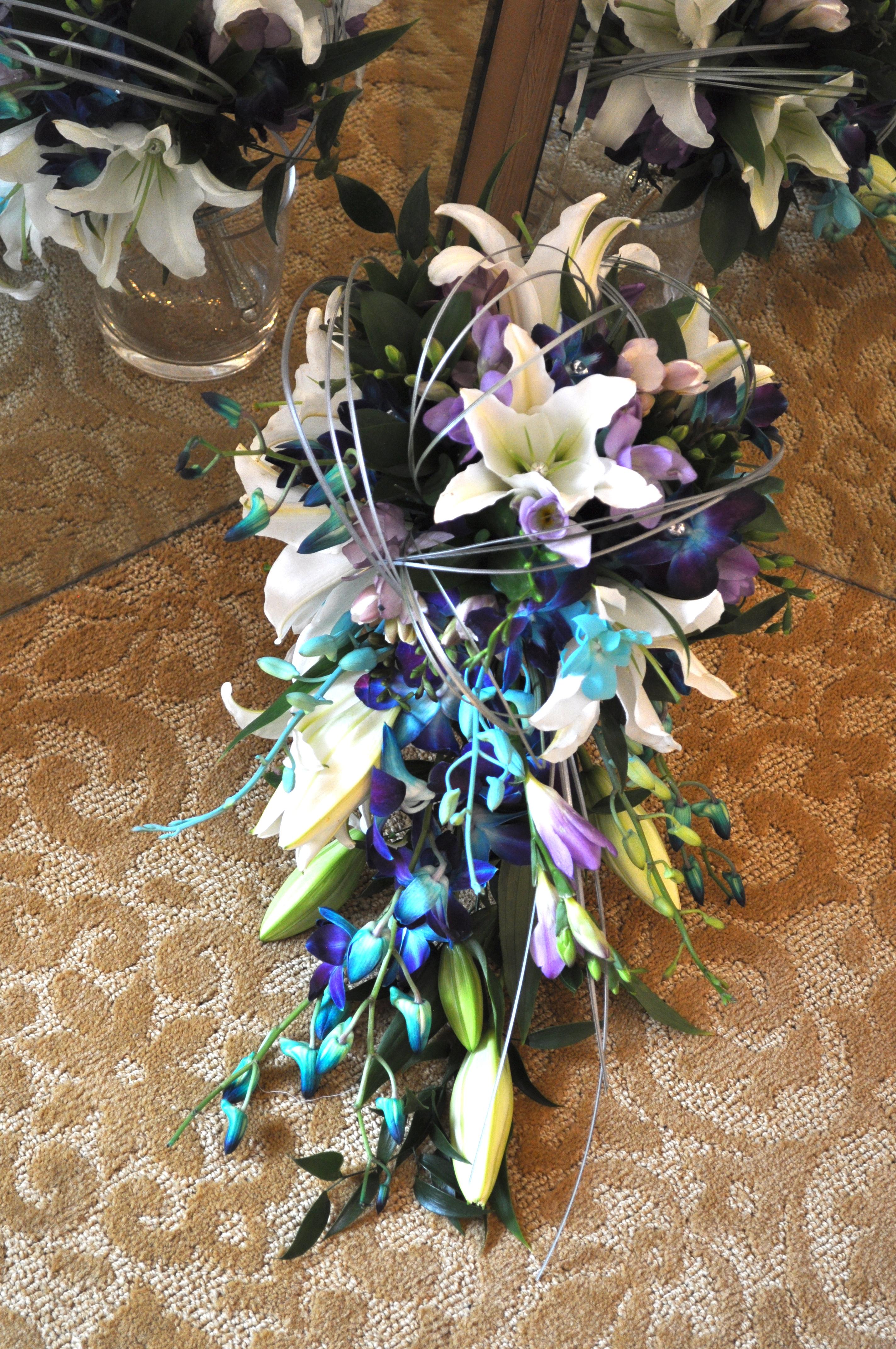 Purple & Blue Cascade Bouquet