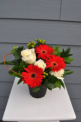 Red & White Gerbera Arrangement