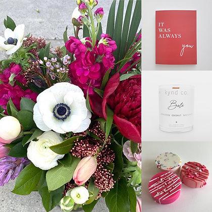 Joyful Valentine's: Colorful Designer's Choice Arrangement Gift Set