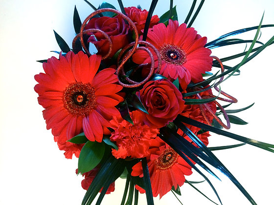 Red & Black Hand-Tied Bouquet