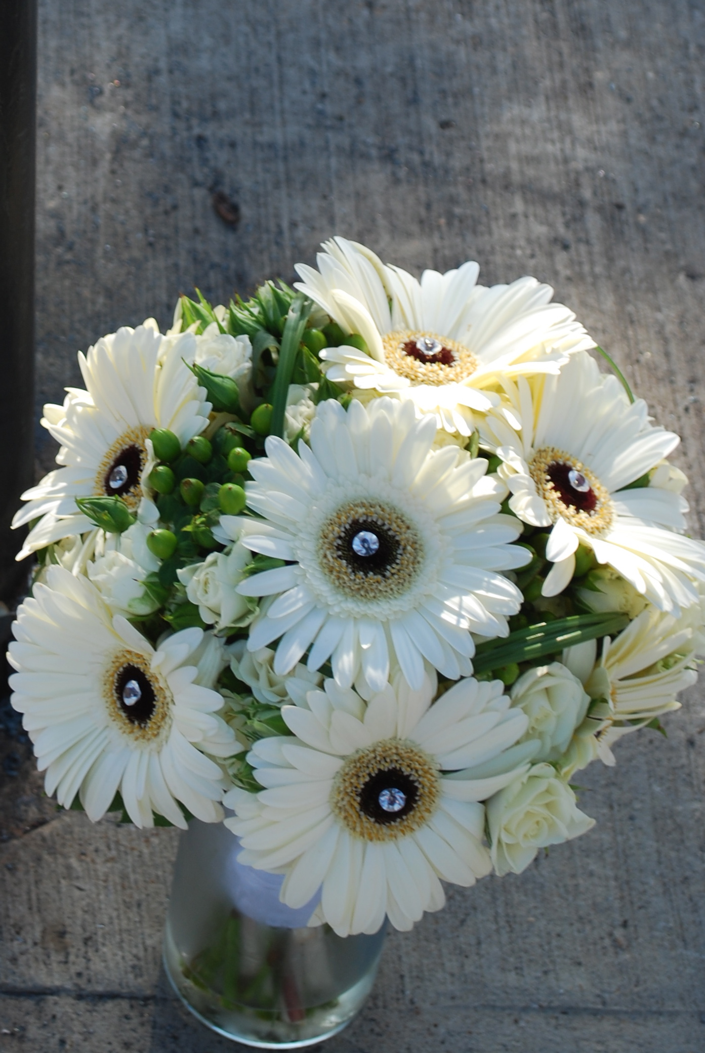 White Gerbera & Berry Bouquet