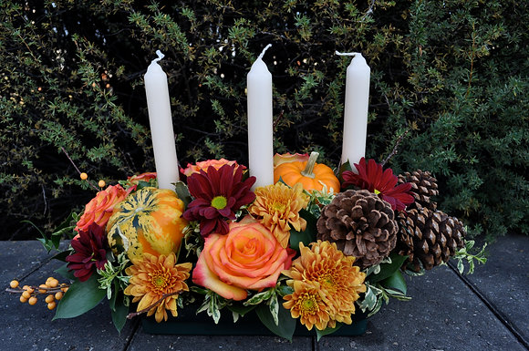 3 Candle Thanksgiving Centerpiece