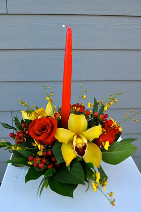 Red & Yellow Orchid Centerpiece