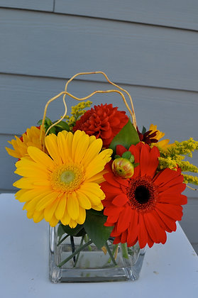 Yellow & Red Cube Centerpiece