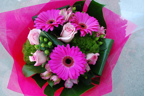 Pink Gerbera & Rose Bouquet