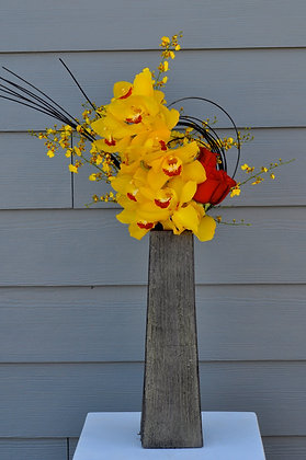 Yellow & Red Orchid Arrangement