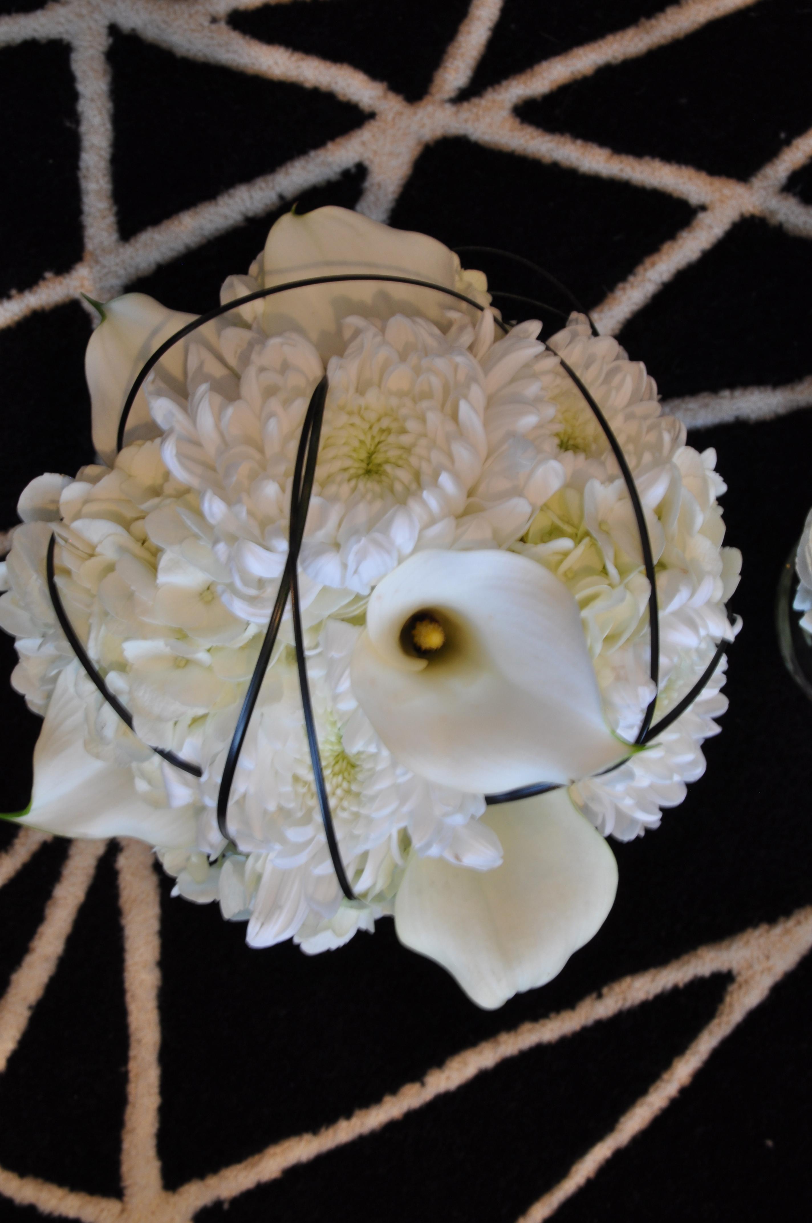 White & Black Stripe Bouquet