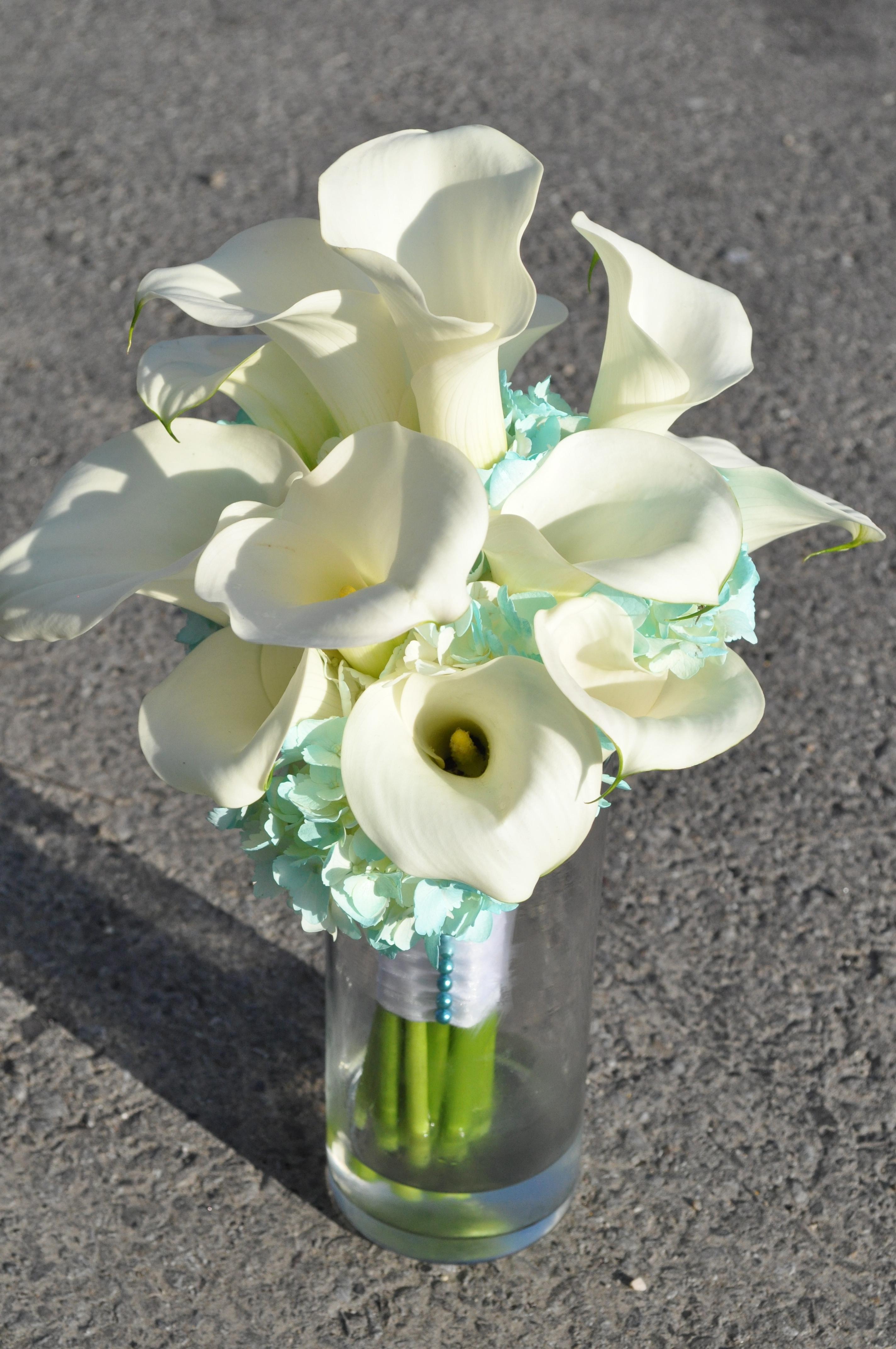 White & Turquoise Calla Bouquet