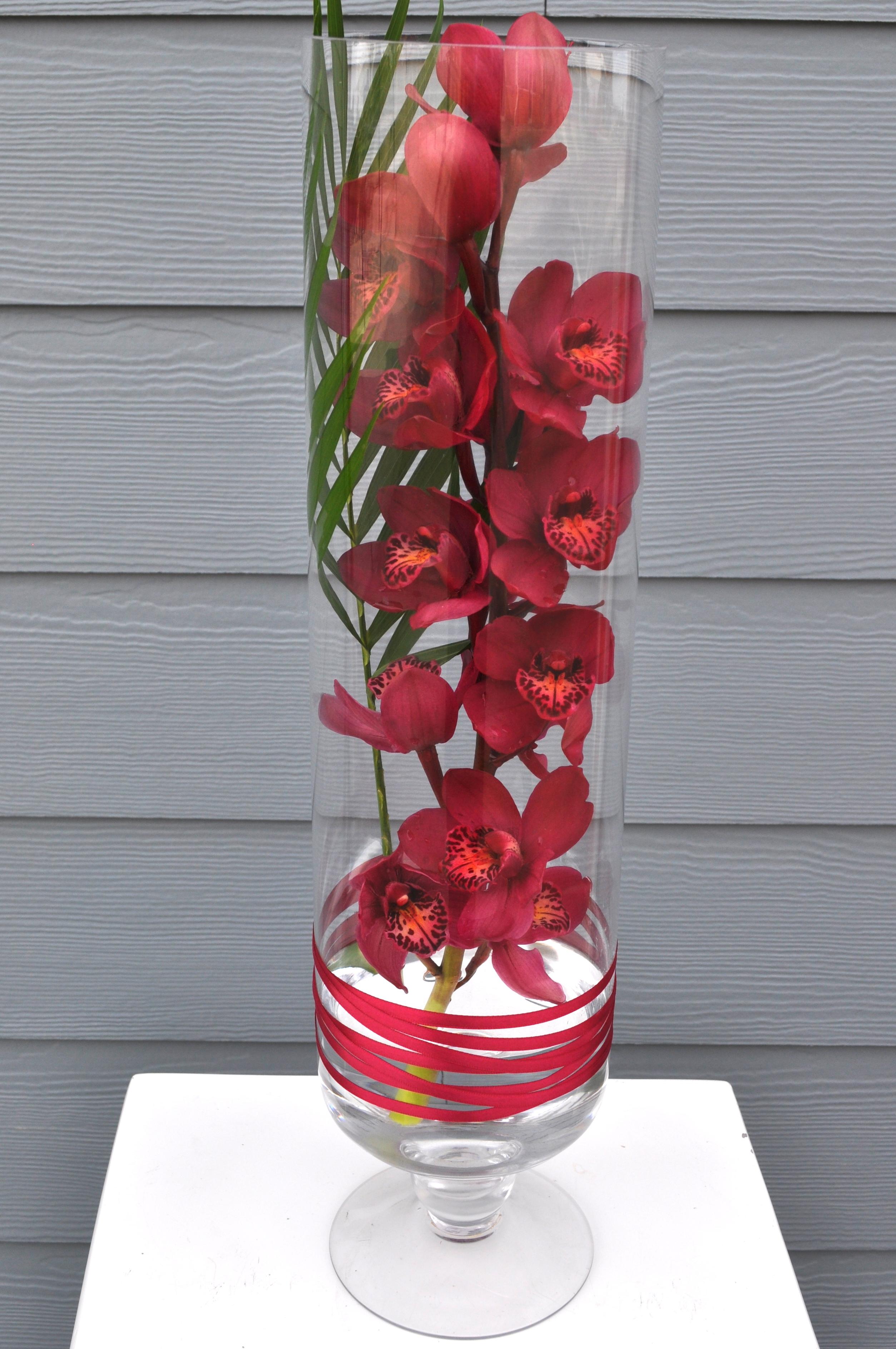 Red Orchid Vase Arrangement