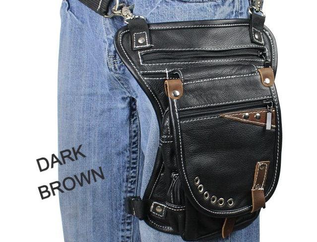 Naked Cowhide Leather Thigh Bag W/ Gun Pocket