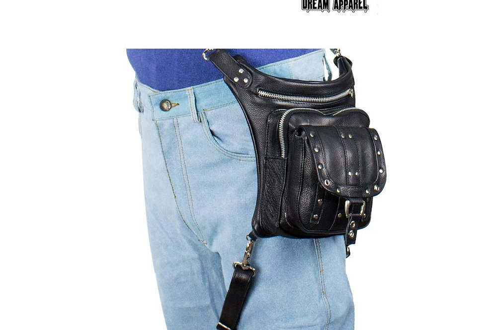 Black Naked Cowhide Leather Studded Thigh Bag W/ Gun Pocket