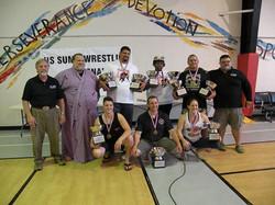 US sumo Nationals Champions Kena Hefferman HI, Trent Sabo Idaho, Roy Sims CA, Jenelle Hamilton CA,
