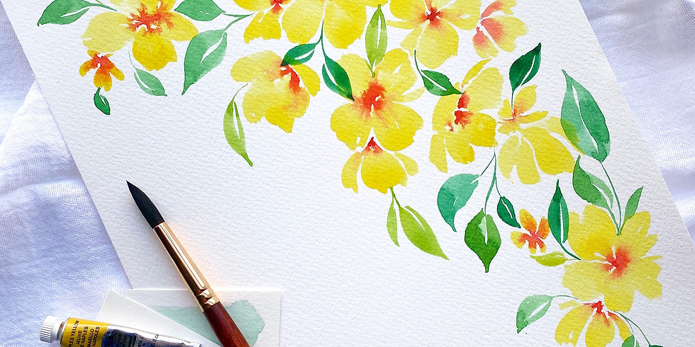 February Floral Watercolor