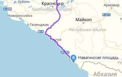 Карта дороги в Сочи, Карта дороги в Абхазию, Карта дороги в Туапсе