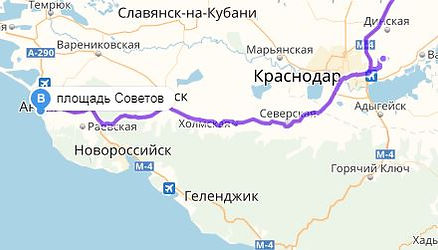 Карта дорога в Анапу